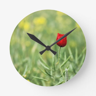 Single Red Poppy Round Clock