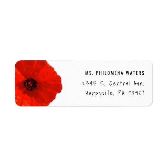 Single Red Poppy Two Template Return Address Label