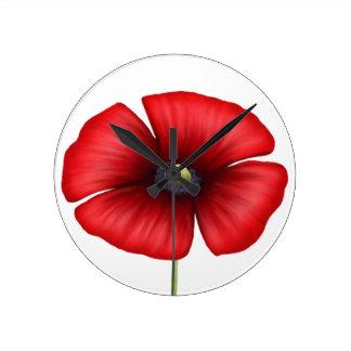 Single Red Poppy Wall Clock