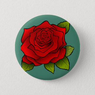 Single Red Rose 2 Inch Round Button