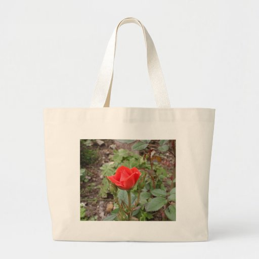 Single Red Rose Canvas Bags