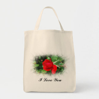 Single Red Rose Grocery Tote Bag