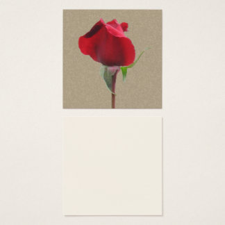 Single red rose bud square business card