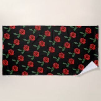 Single Red Rose Floral Beach Towel