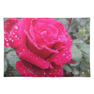 Single red rose flower with water droplets placemat