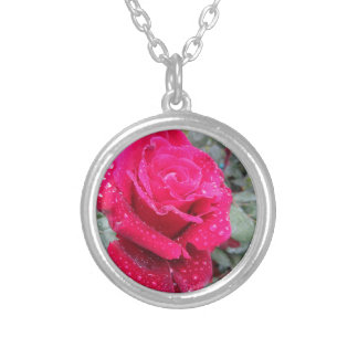 Single red rose flower with water droplets silver plated necklace