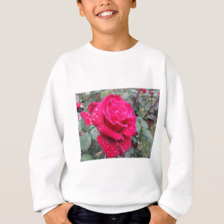 Single red rose flower with water droplets sweatshirt