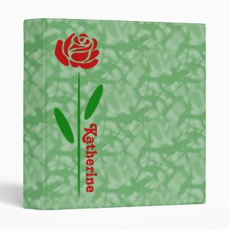 Single Red Rose Green Stem Leaves Customize Name Binder
