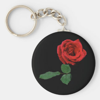 Single Red Rose Keychain