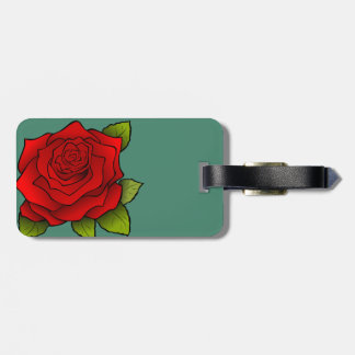 Single Red Rose Luggage Tag