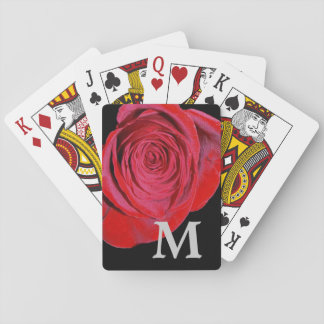 Single Red Rose Monogram Playing Cards