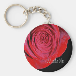 Single Red Rose Personalized Keychain