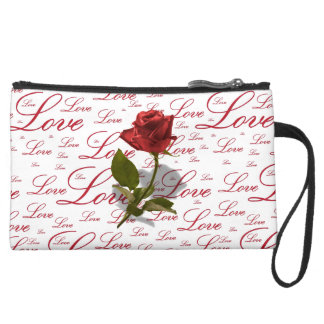 Single Red Rose Photo - Love Typography Wristlets