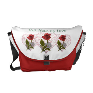 Single Red Rose Photo Red Heart Love Courier Bags
