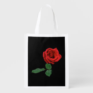 Single Red Rose Reusable Grocery Bag