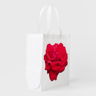 Single Red Rose Reusable Grocery Bags