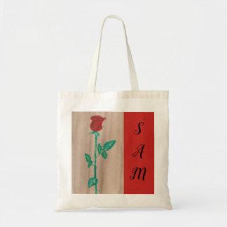 Single Red Rose Tote Bag