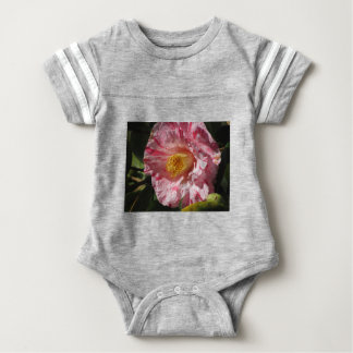 Single red streaked white flower of Camellia Baby Bodysuit