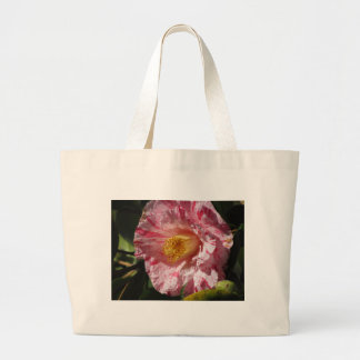 Single red streaked white flower of Camellia Large Tote Bag