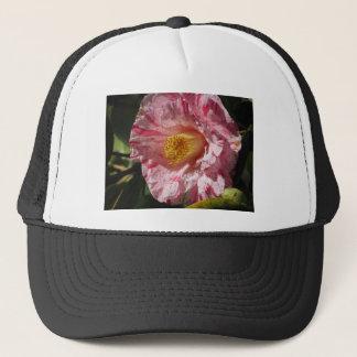 Single red streaked white flower of Camellia Trucker Hat