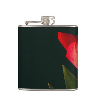 Single Red Tulip Hip Flask