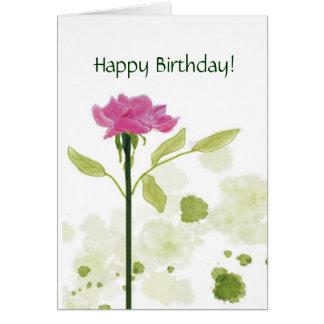 Single Rose Birthday Greeting Card
