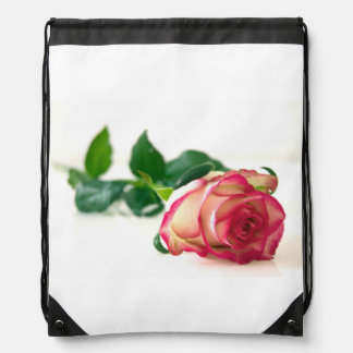 Single Rose Drawstring Backpack