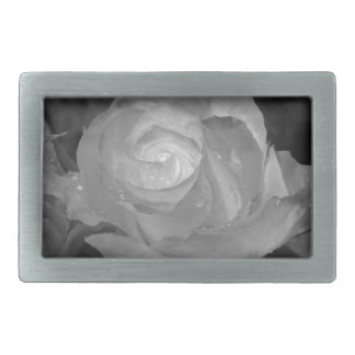 Single rose flower with water droplets in spring belt buckle