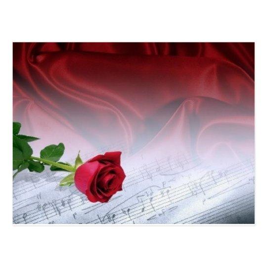 single rose on sheet music - customizable postcard