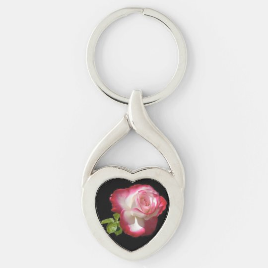 Single Rose, Twisted Heart Metal Keychain