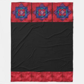 Single Row Quilt Square Monogram Fleece Blanket