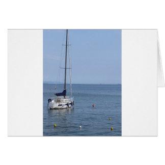 Single sailboat lies at anchor in a harbor card