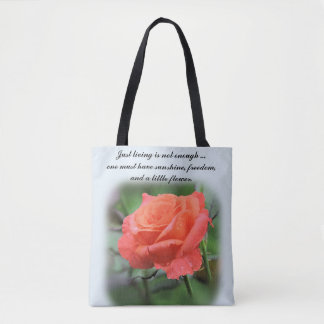 Single Salmon Colored Rose with Dewdrops Tote Bag