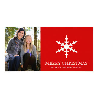 Single Snowflake with Customizable Colors Photo Cards