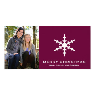 Single Snowflake with Customizable Colours Personalized Photo Card