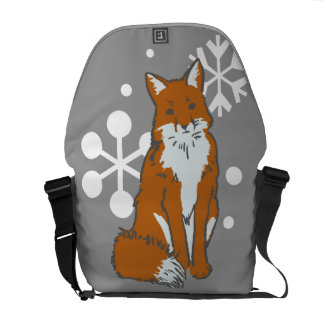 Single Snowy Winter Red Fox Pattern Courier Bags
