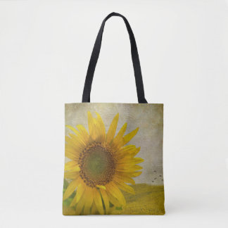 Single Sunflower on sunflower pasture Tote Bag