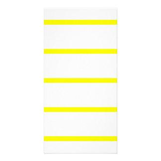 Single Thin Stripe - Yellow on White Photo Card Template