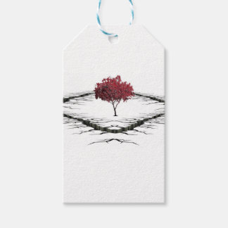 Single tree isolated from nature sad pack of gift tags