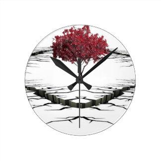 Single tree isolated from nature sad round clock