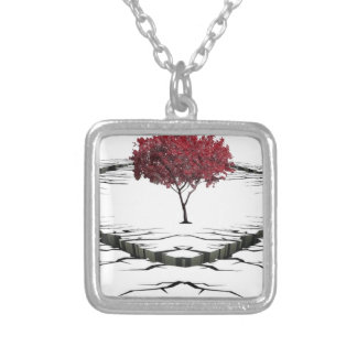 Single tree isolated from nature sad silver plated necklace