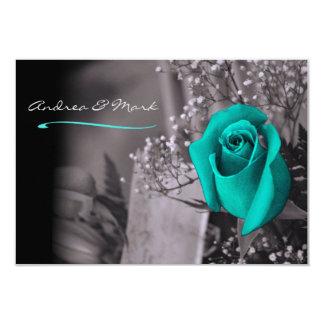 Single Turquoise Rose Fade to Black Wedding Card