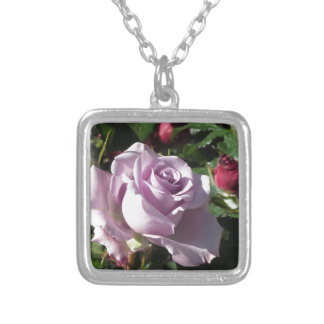 Single violet rose flower with red roses around silver plated necklace