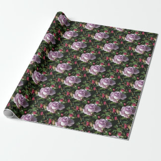 Single violet rose flower with red roses around wrapping paper