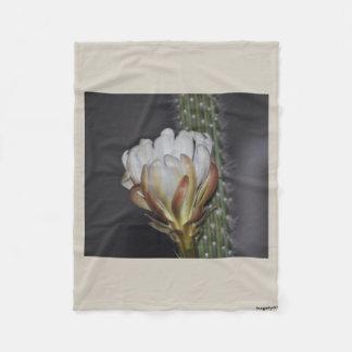 Single White Cactus Bloom Fleece Blanket