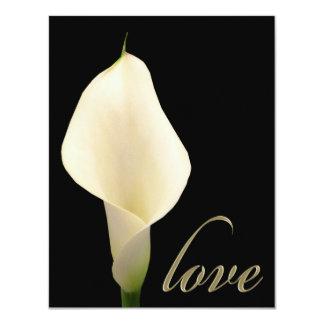 Single white calla lily card