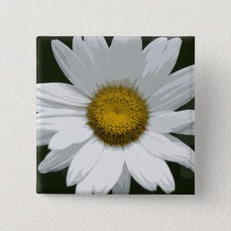 Single White Daisy 2 Inch Square Button
