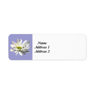 Single White Daisy Return Address Label
