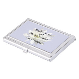 Single White Daisy Wedding Products Business Card Holder