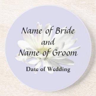 Single White Daisy Wedding Products Drink Coaster